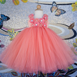 beautiful baby girl party dress Canada - Beautiful Peach Flower Girl Dress for Wedding Party Coral Flower Girl Peach Tutu Dress Girls Birthday Outfit Baby Clothes