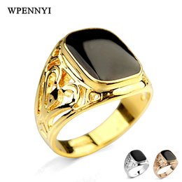 White Rose Crafts Canada - For Man White   Rose   Gold Three Color Black Onyx Enamel Craft Classic Rectangle Retro Finger Ring Wholesale