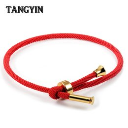 $enCountryForm.capitalKeyWord Australia - New Red Hand Rope Couple Bracelet Gold Stainless Steel ball Black Milan Rope Adjustable Bracelets for Men And Women Jewelry Gift