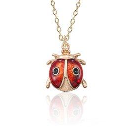 $enCountryForm.capitalKeyWord UK - Lovely Enamel Insect Animal Necklace For Women Mini Beetle Ladybug Ladybird Necklaces Pendants Gold Jewelry For Kids