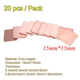 laptop pad copper Canada - Fan Cooling Fans & Cooling 20 pcs pack 15x15 0.3 0.4 0.5 0.6mm 0.8mm 1mm Thick Heatsink Copper Shim Thermal Pads for Laptop