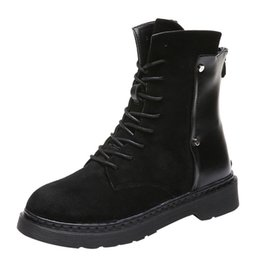 Punk rivet style shoes online shopping - Punk style Rivets Boots Women s Patchwork Winter leather Med Lace Up Platforms Cool Ankle booties Women Shoes zapatos de mujer