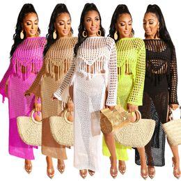 $enCountryForm.capitalKeyWord Australia - 2019 Women Summer Tassel Dresses Crochet Knit Hollow Out Long Sleeve Sweater Top High Side Split Maxi Skirt Suit Beach 2pcs Sets Dress