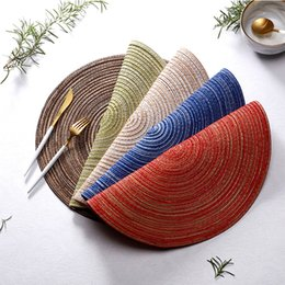 round placemats wholesale NZ - DHL SHIPPING HOT Round Woven Placemats for Dining Table Heat Resistant Wipeable Placemat non-slip Washable Kitchen Place Mats