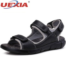 new design casual sandals Australia - UEXIA New Summer Men Leather Sandals Business Casual Shoes High Quality Design Outdoor Beach Sandals Man Water Sneakers Footwear