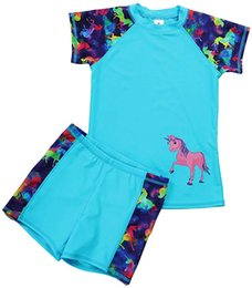 Discount swim shorts kids - MAICO Kids Two Pieces Swimsuits Set Short Sleeves Swimwear Boys Girls Bathing Suit Rash Guard Sets UPF 50+ Swimming Beac