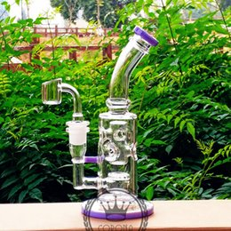 Discount dab bongs - Dab Oil Rigs bong 8 inches with 14.5mm Male Joint Recycler Glass Bong Perc Quartz Banger Carb Cap Glass Water Pipes