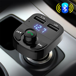 mp3 player for smart car NZ - Vehemo 12V-24V Dual USB FM Transmitter Mic TF Card for Car Kit Smart Music Automobile for MP3 Player