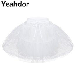 $enCountryForm.capitalKeyWord UK - White Kids Girls Hoopless 3 Layers Net Petticoat Underskirt Crinoline Slip for Flower Girls Wedding Dress Prom A-line