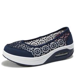 Platform Flats Women NZ - Dropshipping 2019 Summer Women Flat Platform Shoes Women Breathable Casual Sneakers Shoes Slip on Platform Walking