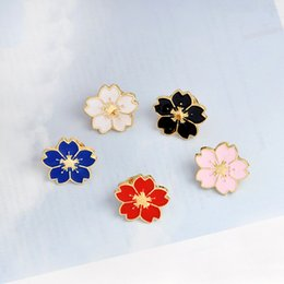 $enCountryForm.capitalKeyWord NZ - Cartoon Cherry Blossoms Flower Brooch Enamel Pins Brooch Pin for Women Men Lapel pin bags badge Gifts