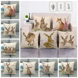 wholesale fox cushion covers UK - Animal print Cushion Covers Fox Hedgehog Bee Pug Dog Rabbit Painting Animals Throw Pillow Cover Linen Pillow Case Party Decor 45cm FFA3551