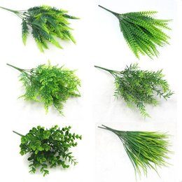 $enCountryForm.capitalKeyWord Australia - 7 Fork Water Grass Eucalyptus Plastic Artificial Plants Green Grass Plastic Flower Plant Wedding Home Decoration Table Decors C19041302