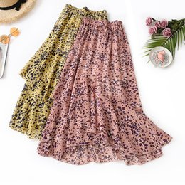 $enCountryForm.capitalKeyWord NZ - Leopard Print Half-body Skirt Woman Summer High Waist Long Fund Ins Exceed Fire Real Chiffon Coattail Skirt Lotus Leaf Pendulum Skirt