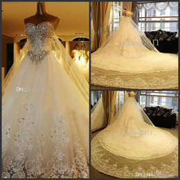 ball gown wedding dresses veils Australia - Real Photos Ball Gown Luxury Crystal Wedding Dresses Lace Cathedral Lace-up Back Bridal Gowns 2019 Sweetheart Appliques Beaded Free Veil