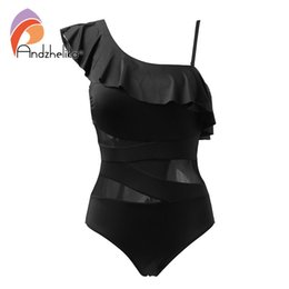 $enCountryForm.capitalKeyWord NZ - Andzhelika Sexy One Piece Swimsuit Women Swimwear One Shoulder Swimwear Ruffle Mesh Bodysuits Beach Swim Suit Bathing Suit Y19072401
