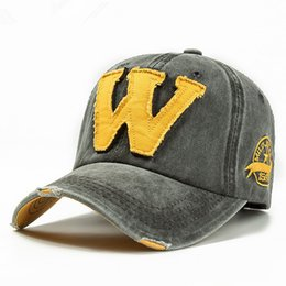 Discount baseball cap letter w - Cotton Embroidery Letter W Baseball Cap Snapback Caps Bone casquette Hat Distressed Wearing Fitted Hat For Men Custom Ha