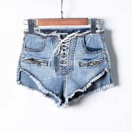 White Shorts Australia - NORMOV Summer High Waist Denim Shorts Women New Fashion Zipper Sexy Shorts Female White Front Lace-Up Korean Washed Short Jeans T5190617