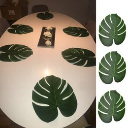 $enCountryForm.capitalKeyWord Australia - 12pcs Artificial Green Leaf Monstera Palm Leaves for Hawaii Luau Party Decorations Wedding Table Decoration Plants Flower Leaves