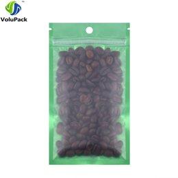 $enCountryForm.capitalKeyWord Australia - 12x20cm 100pcs flat bottom Green Translucent matte Reclosable aluminum foil coffee bean snack zipper packaging bags
