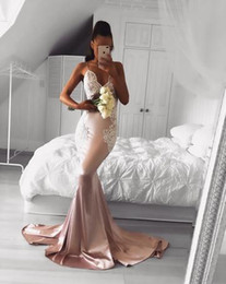Vintage Inspired Jackets Australia - Vintage Rose Gold Mermaid Prom Dresses Deep V Neck Appliques Lace Fishtail Long Evening Gowns Sexy Fitted Special Occasion Graduation Dress