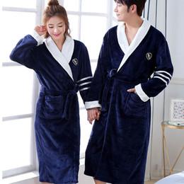 26de5180ba Thicken Warm Couple Flannel Robe Winter Long Sleeve Bathrobe Sexy V-Neck  Women Men Nightgown Lounge Sleepwear Home Clothes