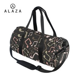 ALAZA Men Big Travel Shoulder Gym Bag Black Canvas Strap Music Note Pattern  Barrel Design Tote Handbag For Women 2019 01bdc14b1a4eb