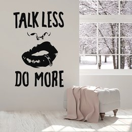 wall stickers sexy girls NZ - Quote Talk Less Do More Vinyl Wall Decal Sexy Girl Lips Piercing Stickers For Office Art Wall Murals Decor Study Room