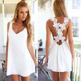 427b04d7f3 new sexy women without back V neck back cross Lace Chiffon Dress summer  beach Mini dresses 180227