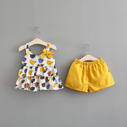 $enCountryForm.capitalKeyWord NZ - 2pcs girls summer clothing set kids strap colorful dresses and yellow set baby ruffle bow dress children clothes 1-5 years old