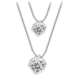 necklace cube UK - Affordable Silver Crystal Cube Necklace Clover flower Necklaces & Pendants with Box
