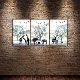 $enCountryForm.capitalKeyWord Australia - 3PCS Framed Wall Art Elephant Elk White Wall Art Pictures for Livingroom Decor Posters and Prints Canvas Painting