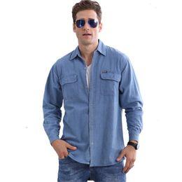 $enCountryForm.capitalKeyWord Australia - Plus Size Men Denim Shirts Loose Single Breasted Summer Male Thin Breathable Shirts Blue Casual Shirts BLOUSE
