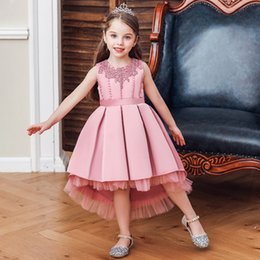 embroidered tutu Canada - Children's Embroidered Beaded Dress Catwalk Small Flower Girl Trailing Princess Dress Fluffy Small Host Piano Costume