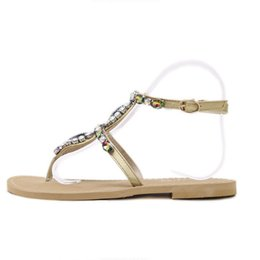 $enCountryForm.capitalKeyWord UK - Summer New Color Rhinestone Sandals Bohemian Beach Women Shoes Famale Pinch Flat Comfortable Women's Shoes jooyoo