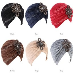 Coral Hair Accessories Australia - New winter luxury women Coral velvet Turban with beaded flower jewelry muslim hijab head wrap for ladies Hair Accessories