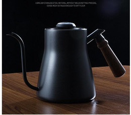 Hand Made Suits Australia - Hand-made coffee pot household ear-hanging mini-suit kettle stainless steel drip-leak thermometer long-mouth thin-mouth kettle