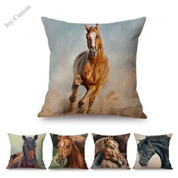 $enCountryForm.capitalKeyWord NZ - Oil Painting Horse Watercolor Splash Art Horse Decorative Pillow Case For Home Decoration Cotton Linen Chair Seat Cushion Cover