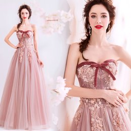 $enCountryForm.capitalKeyWord Australia - Blush Pink Beaded Lace 2019 Evening Dresses Sweetheart A-line Tulle Vintage Prom Dresses Cheap Formal Party Bridesmaid Gowns