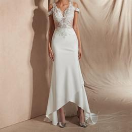 $enCountryForm.capitalKeyWord Australia - Stunning Cap Sleeve Hi-Lo Mermaid Wedding Dress Sweep Train Bridal Gowns Lace Applique Beaded Saif Ali Khan Wedding Dress Vestido De Noiva