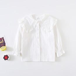 Princess collar shirt online shopping - New Autumn Baby Girls Lace Princess Blouses Korean Style White Long Sleeve Tops Jacquard Weave Toddlers Kids Cotton Shirts