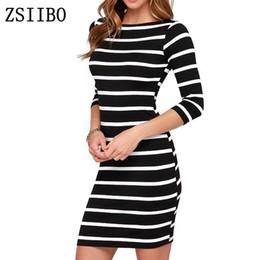 b4b218dbd37 ZSIIBO LYQ61 2017 New Spring Summer Women Round Neck Fashion Black and  White Striped Long Sleeve Straight Plus Size Casual Dress