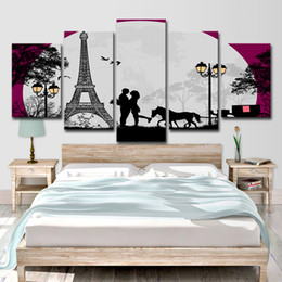 Canvas Print Paris Australia - Modern HD Printed 5 Piece Canvas Art Paris Eiffel Tower Moon Canvas Prints Wall Pictures for Living Room