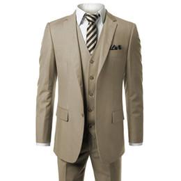 Measuring Suit NZ - HB018 Khaki Men's Modern Fit 3-Piece Suit Blazer Jacket Vest & Trousers Custom Make To Measure Order Male Suit (coat+pants+vest)
