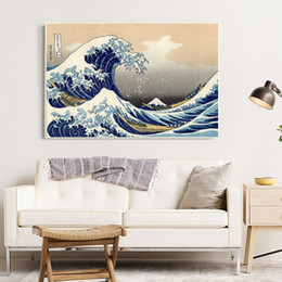 painting mounting NZ - Japanese Ukiyo-e Wave Canvas Painting Kanagawa Surfing Mount Fuji Vintage Posters Wall Art Canvas Pictures For Living Room Decor