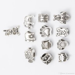 Dog Plates Australia - Mix elephant owl dog Antique Silver Plated Alloy Big Hole Spacer Beads fit bracelet DIY Jewelry Necklaces & Pendants charms Beads