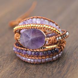 $enCountryForm.capitalKeyWord Australia - Drop Shipping Natural Stones Crystal Quartz Charm 5 Strands Wrap Bracelets Handmade Boho Bracelet Women Leather Bracelet S514