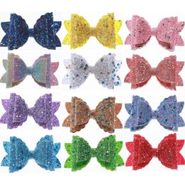 $enCountryForm.capitalKeyWord Australia - 60PCS Boutique Glitter Synthetic Leather Hair Bow For Hair Clip 8.5CM Messy Sequin Bow Knot ForGirl Hairgrips Accessories