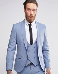 navy blue tuxedos for cheap Australia - Light blue Wedding Tuxedos Slim Fit Suits For Men Groomsmen Suit Three Pieces Cheap Prom Formal Suits (Jacket +Pants+Vest+Tie)NO:748
