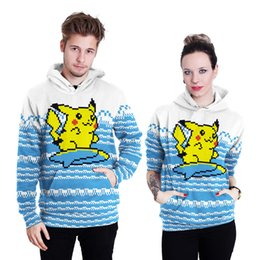 sweater cartoon couple Australia - Cartoon Pikachu Hoodies new brand couple sweater coat loose slim pockets fashion men and women B101-047
